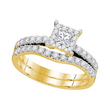 14K Yellow Gold Princess Diamond Bridal Wedding Engagement Ring Band Set 7/8 Ctw - $1,399.00