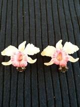 Vintage Dimensional Orchid Flowers Celluloid Plastic Clip Earrings - $12.00