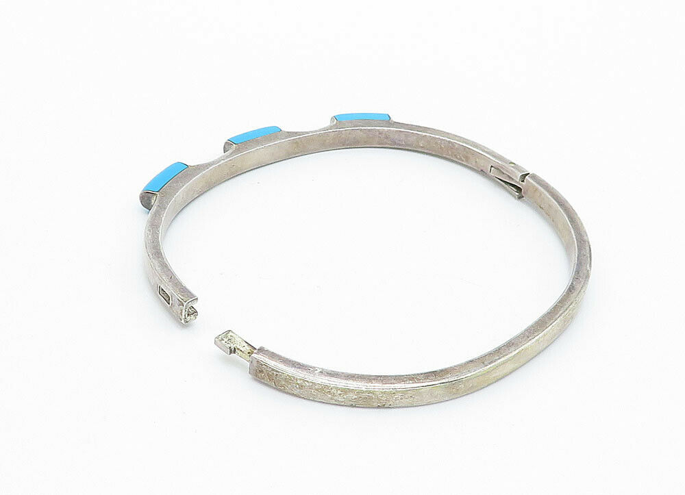 MEXICO 925 Silver - Vintage Turquoise Decorated Smooth Bangle Bracelet - B5956
