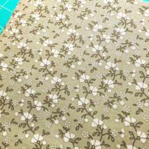 Trumpet Flowers Vines Calico Fabric Khaki and Brown by David Textiles - $4.50