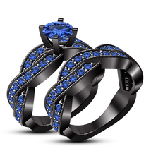 Twisted Bridal Engagement Ring Set Blue Sapphire Black Gold Finish 925 Silver - $98.99