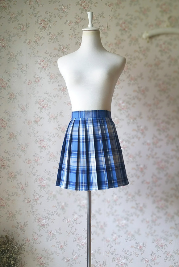 Light BLUE PLAID Skirt Women Girl Pleated Plaid Skirt Outfit Mini Plaid Skirt