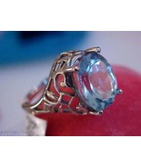 10k white gold Filigree 5 CT Large Oval Cut Blue Topaz  Fantastic Ring S... - $247.50