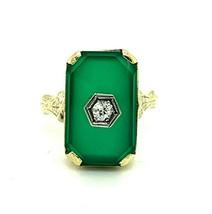 14k Yellow Gold Art Deco Genuine Natural Chrysoprase and Diamond Ring (#... - $495.00