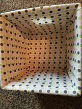 "Wicker Basket ~ Polka Dot Pattern Liner ~ 12"" x 12"" x 8"" Woven Rattan Ma... - $22.97"