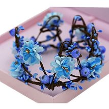 The Bride Adorn Article Female Simulation Wreath Crown Crown Headdress(Blue)
