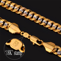 Necklaces 18'' 22'' 26'' 6MM 18K Gold Plated Cuba N828 - $23.99+
