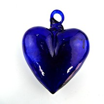 ZealwithaFish Hand Blown Heart 1 Large Blue 7.5 x 5.5x 3 inches approx - $51.26