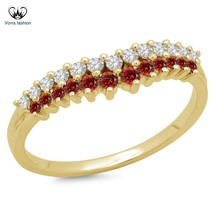 Women's Band Wedding Ring Round Cut CZ & Red Garnet Yellow Gold Fn. 925 ... - £54.19 GBP