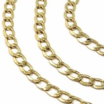"""9K GOLD GOURMETTE CUBAN CURB LINKS FLAT CHAIN 4mm, 60cm, 24"""", BRIGHT NECKLACE image 3"""