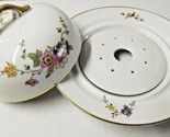 Round Butter  Cheese Dish 3 pc. H&C Heinrich Selb Manchester Floral Pattern EUC