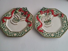 FITZ FLOYD Hand Crafted Lot (2) Christmas Bells Bows Canape Dessert Plat... - $24.95