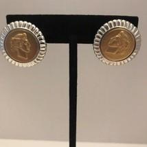 RARE! MONET SILVER & GOLD TONE ROMAN COIN Button Stud Post EARRINGS J6518 - $37.99