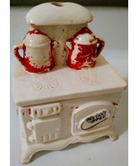 Vintage Ceramic Instant Coffee Holder Wood Burning Stove Shaped Container - $29.92 CAD