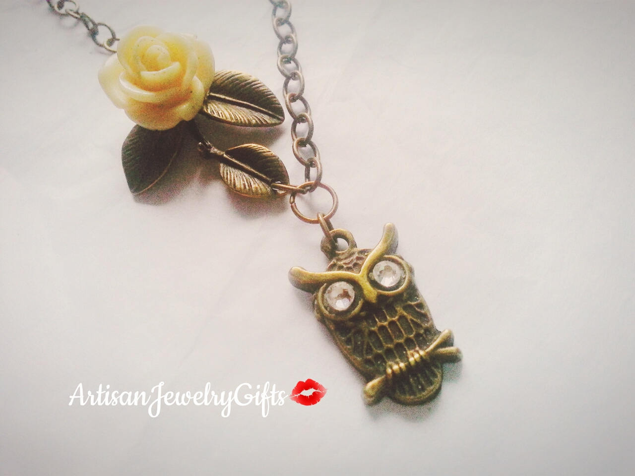 Antique brass owl necklace branch necklace owl cha