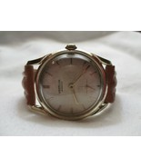 Westclox Made in USA Wind Up Wristwatch Brown Buckle Band Gold Tone FOR REPAIR - $84.00