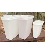 2 Vtg Tupperware Clear Cereal Storage Keeper Containers 469 Pour Lids 12... - $18.80