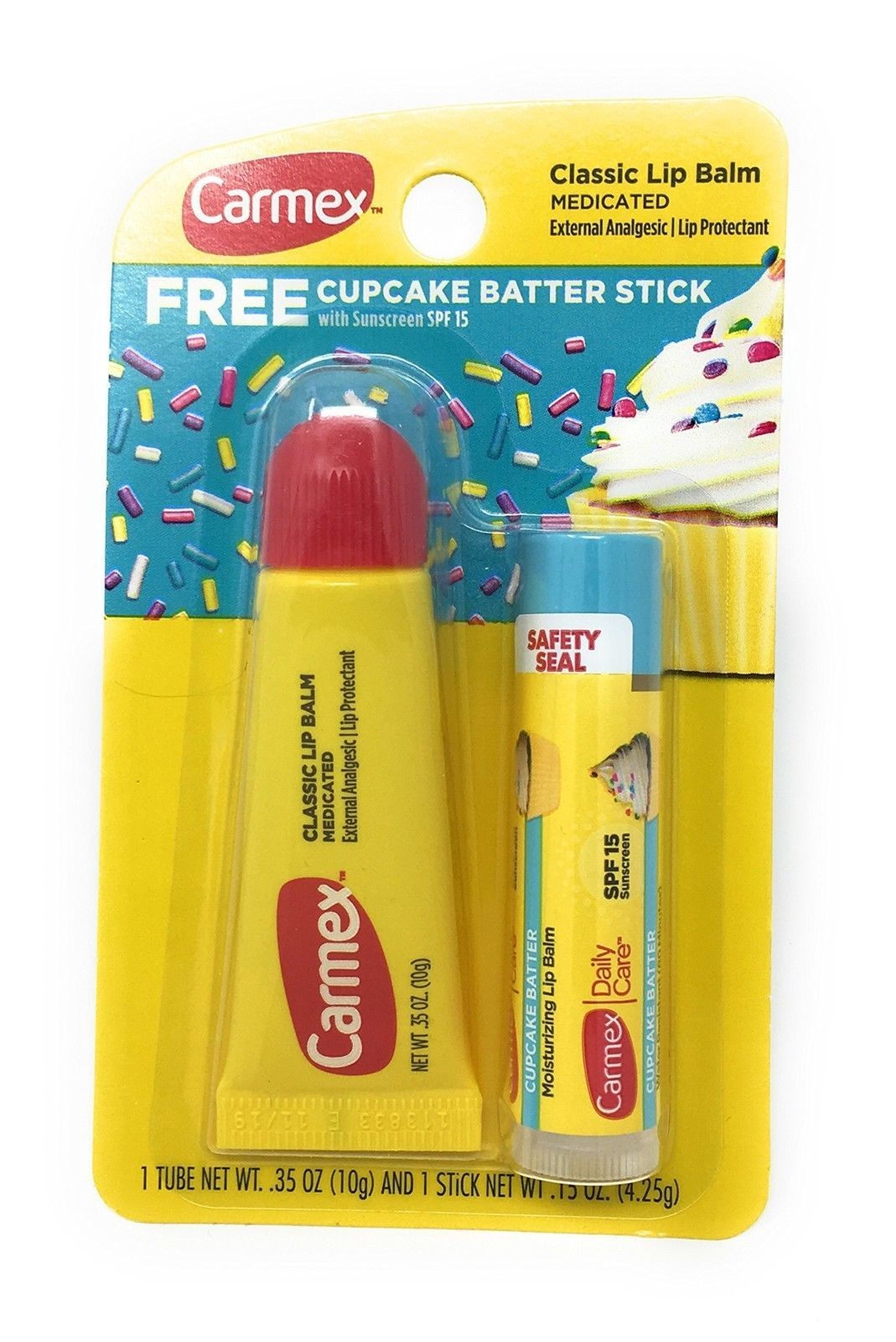Carmex Classic Medicated Lip Balm Tube with FREE Cupcake Batter Stick Pack of  2