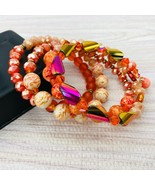 Stack Bracelets Orange Memory Swarovski Crystals Iridescent Glass Gold Rose - $29.69