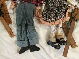 """Lot (10) Antique Handmade Marionette Doll Wood Resin 12.5"""" to 20"""" Man Woman image 10"""