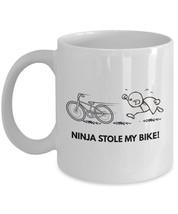"Ninja Mug - Funny Ninja Coffee Mug ""Ninja Stole My Bike"" Cartoon Cups - Great Ni - $14.95"