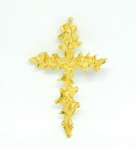 Texture Molded Abstract Gold Tone Crucifix Religious Pendant Vintage - $19.79