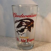 BUDWEISER SALUTES US AIR FORCE BEER GLASS CUP USAF VINTAGE EAGLE MILITAR... - $19.75