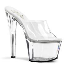 "PLEASER Sexy Slip On Clear Platform 7"" Heel Hot Stripper Dancer Shoes SK... - $41.95"