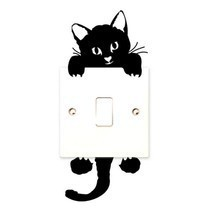 2017 DIY Funny Cute Black Cat Switch Decal Wallpaper Switch Sticker Home... - $8.17