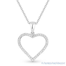 0.19 ct Round Cut Diamond Heart Charm Pendant & Chain Necklace in 14k White Gold - $316.79