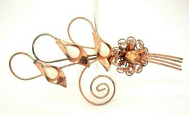 Vtg Brooch Large COPPER Layered Flower Calla Lilly Pin modernist - $17.79