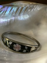 Estate Mexico Signed Silver W Black Enamel & Light Pink Mother of Pearl ... - $14.89