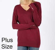 Plus V Neck Sweater, Burgundy Plus Sweater, Womens Plus Sweater, Burgundy