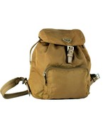 Authentic PRADA Milano Camel Brown Nylon Backpack Shoulder Bag Purse Italy - $246.51