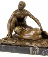 Antique Home Decor Sculpture shows Women Men Nude Erotic Bronze *Free Ai... - $239.00