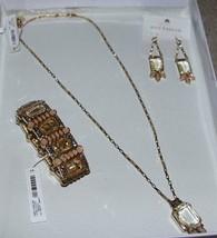 NWT Ann Taylor Jewelry Set Crystal Cluster Necklace, Stretch Bracelet & ... - $42.56