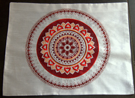 Shabbat Judaica Challah Bread Cover White Red Brown Mandala Silver Embroidery image 2