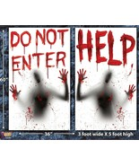 Giant Bloody-HELP-DO NOT ENTER-Window Wall Posters Halloween Decorations-2PC SET - $7.81