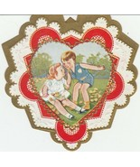 Vintage Valentine Card Boy in Sunsuit Girl in White Dress 1920's Heart D... - $8.90