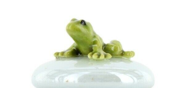 Stepping Stones Fairy Garden Terrarium Miniature Frog Baby on Blue Opaline