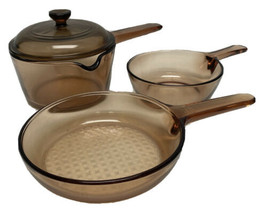 4 Piece Set Corning Pyrex Vision Ware Amber Glass Pots, Sauce Pans - $94.05