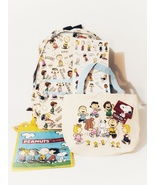 NEW Peanuts Canvas Backpack, 3-in-1 Canvas Insulated Lunch Bag and Tote Set - $35.88