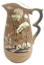 Pitcher Brown Nippon Yoko Boeki Co Windmill 1930-1940 Japan Porcelain Vi... - $34.65