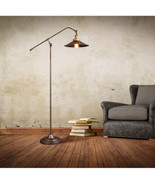 Vintage Industrial Era Gunmetal Floor Lamp Restoration Cast Iron Filamen... - $182.90