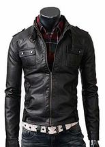 Mens Slimfit Cafe Racer Strap Pocket Black Biker Leather Jacket image 1