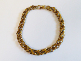 """VTG Coro Chunky Chain Link Necklace 14.5"""" Choker Metal Silver Tone gold wash - $25.25"""