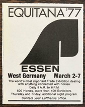 1977 Equitana '77 Essen West Germany Trade Expo Print Ad All Things Horses - $9.95