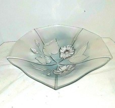 "Walther Glas Mikasa Calypso Crystal Frosted Large Fruit Bowl 13"" West Ge... - $24.74"