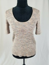 Madewell women M Marled Willford sweater tee scoop neck slim fit short s... - $44.55
