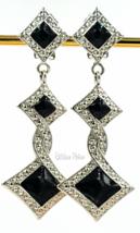 Bijoux Designs Earrings Vintage Art Deco Silver Tone and Black Enamel - $22.00